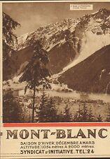 MONT-BLANC SYNDICAT D' INITIATIVE PUBLICITE 1930