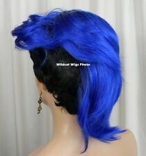 Way Cool Vivid .. MOHAWK WIG .. New Style!   Black Tipped in Dark Blue! *