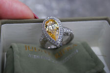 New Judith Ripka Sterling 3.95ct Yellow Diamonique Pear Ring 6