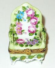 LIMOGES BOX ~ FRENCH FLORAL ARMCHAIR ~ PINK ROSES & FLOWERS ~ PEINT MAIN