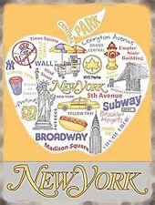 Insegna metallo attrazioni di New York in una grande mela (og 2015)