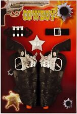 Twin Cowboy Gun Holster Fancy Dress Toy Ranger Bandit Sheriff Kids Wild West