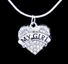 MY GIRL HEART CRYSTAL CHARM PENDANT SILVER .925 CHAIN NECKLACE VALENTINE LOVE