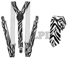 New Awesome Black & White Zebra Print Design NeckTie & Suspender Set Combo