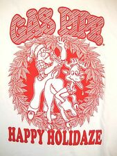 Gas Pipe Happy Holidaze Weed Pot Smokes Shop Santa Claus White T Shirt L