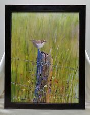 Bart Sison '05 Bird on Tree Trunk Oil Painting w. Vintage Style Wooden Frame