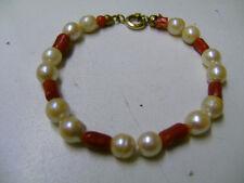 Kinder- / Pupen - Schmuck Armband aus Korallen und Perlen  17 cm lang