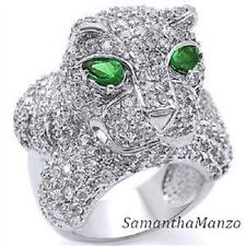 BLING!! 3-D Micro Pave Cz Cubic Zirconia Emerald PANTHER Cocktail Hand Band Ring