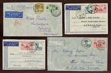 DUTCH EAST INDIES 1933-38 AIRMAIL FRANKINGS VERY FINE USED...4 COVERS