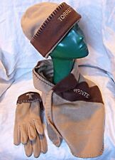 'TORRENTE' MATCHING GLOVES HAT SCARF LIGHT CARAMEL & CHOCOLATE COSY CHIC