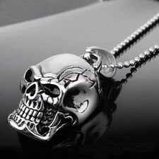 Charm Men's Infinity Tibet Silver Stainless Steel Skull Pendant Chain Necklace