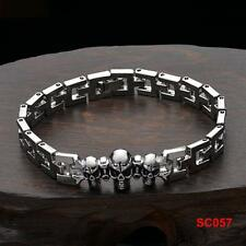 Fashion Men's  NF Stainless Steel Chain Clasp Cuff  Skull Bracelet 8""