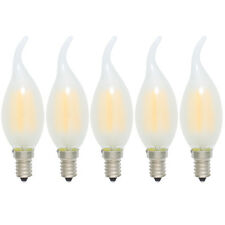 5x 4W E14 Dimmbar Glühfaden LED Windstoß Kerze Lampe,2700K Warmweiß,Matt Glas