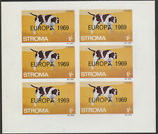 GB Locals - Stroma (1816) 1969 EUROPA overprint on DOGS imperf sheet of 6 u/m