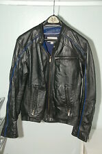Mens Black Motorcycle Jacket Coat Small Wilsons Leather M. Julian BLUE Stripe