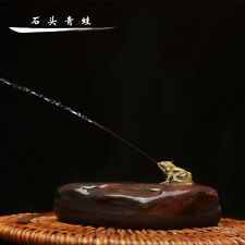 Tea Pet Of Chinese Yixing Zisha Clay Teapot, Spraying Water Frog on the rock.