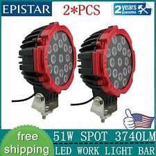 2X 7 Inch 51W Led Round Spot Driving Light Offroad Boat Truck Work Lamp RZR Atv