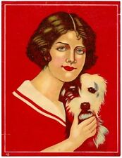 """India Woman & Dog vintage litho genric product label or ad 7"""" x 9.5"""" SEE FAULTS"""
