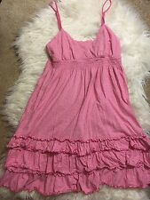 Victoria's Secret PINK Striped Ruffle Baby Doll Summer Beach Dress Sz M