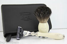 Men shaving shave kit badger hair shaving brush & Gillette mach 3 designer razor