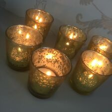 Set of 6 Mercury Glass Gold Tea Light Holder Candle Votive Wedding Decoration