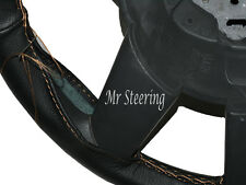 FOR TAXI LTI TX1-TX4 REAL BLACK LEATHER STEERING WHEEL COVER BEIGE STITCH