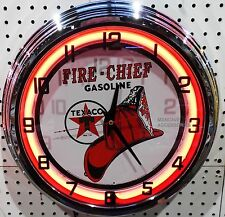 "17"" TEXACO Fire Chief Gasoline Motor Oil Gas Station Sign Neon Clock"