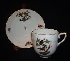 Vintage Herend Hungary Hand Painted Rothschild Birds Demitasse Cup & Saucer Set