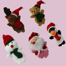 5X Cute Animal Shaped Finger Puppets w/ Christmas Hat Party Bag Filler Kids Toy