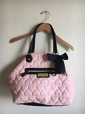Betsey Johnson Pink Quilted Hearts Faux Leather Shopper Tote Shoulder Bag Purse