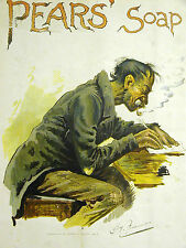 Hy Furnies Pears' Soap Ad POOR MAN or TRAMP SMOKING PIPE 1894 Print Ad Matted