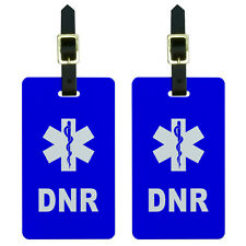 DNR Do Not Resuscitate - Medical Emergency - Star of Life Luggage Tags Set of 2