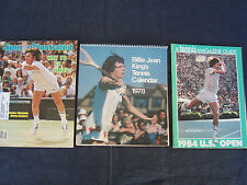 Pro tennis items - Billie Jean King 1978 calendar, 1984 US Open, Jimmy Connors