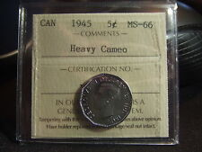 CANADA FIVE 5 CENTS 1945 HEAVY CAMEO, ICCS MS-66 Super Ultra GEM!!!!!!
