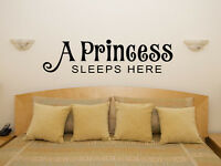 A Princess Sleeps Here Nursery Children's Bedroom Decal Wall Sticker Art Picture