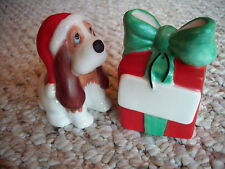 Christmas: Salt & Pepper Shakers DOG IN SANTA HAT & GIFT Personalizable (NIB)