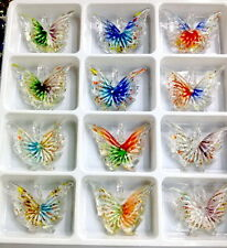 Wholesale lot 24PCS butterfly lampwork murano glass pendant necklace