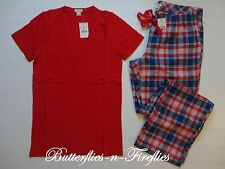 NWT J. Crew Factory Yarn Dyed Flannel Pajama Pant Tissue Tee 2pc Set Womens S