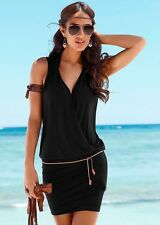 Sexy Women Lady Summer Party Evening Cocktail Short Mini Beach Dress With Belt L