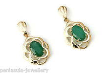 9ct Gold Emerald Drop earrings Celtic Gift Boxed Made in UK