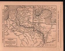 WWI Map Carte France Austria Hungary Russia Germany Poland 1917 ILLUSTRATION