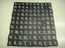 SET Lot of 100 BLACK AND WHITE Scrabble Wooden Tiles Letters ARTS AND CRAFTS