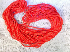 Vtg 1 HANK CORAL ORANGE GLASS SEED BEADS 12/0 CZECH THEM OUT! #062215b