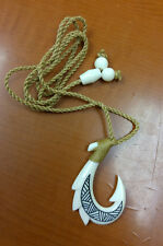 Hawaiian White Craved Dragon Fish Hook Black Tattoo Men Necklace/Chocker
