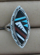 Zuni Indian Ring Multistone Inlay Size 7-1/2 Sterling Silver Larry C. Leslie