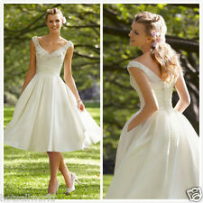 Ivory Tea Length Beach Wedding Dresses for Bride Gowns Ball Lace Dress US12/US14