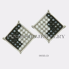 Sterling Silver 925 Square Stud Screwback Earrings with B&W CZ (8.5mm) #0033D