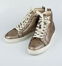 NIB. CHRISTIAN LOUBOUTIN Brown Python Snake Skin Sneakers Shoes 6/39 $1995