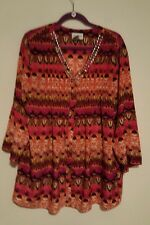 Kate And Mallory Pink Multi-color Blouse Studded Neckline 3/4 Sleeved