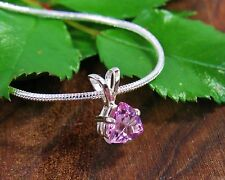 6mm Trillion Pink Mystic Topaz Sterling Silver Pendant w/Chain Necklace 1.27cts